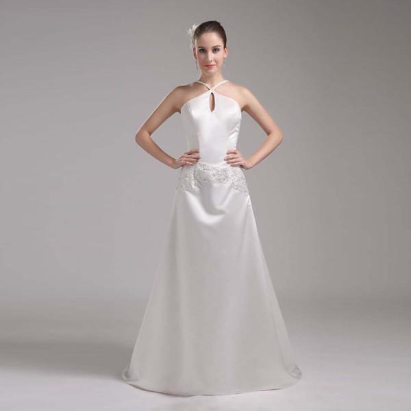 Vestido de boda de la vendimia una línea de satén matrimonio Vestido de novia Diseño del halter Precio competitivo Buena calidad vestido de novia Dropshipping