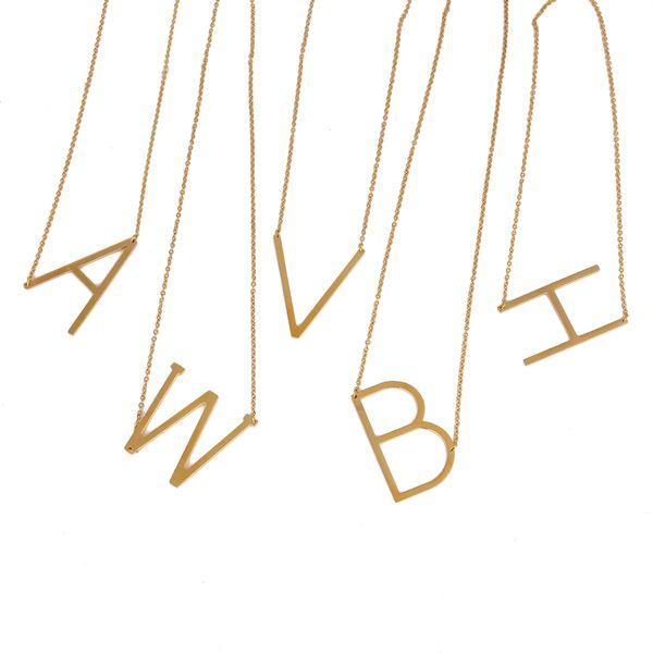 2017 yeni tasarım Harfler ve Harfleri kolye Kolye Alfabe Paslanmaz Çelik 24-k ALFABETO kadın Moda gerdanlık kolye Moda Takı