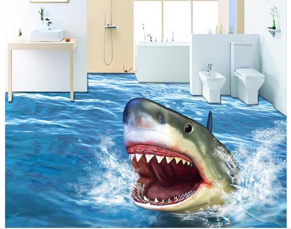 Compre Moda 3d Decoración Para El Hogar Hermoso Horror Shark 3d Stereo Seamless Floor Wallpaper Impermeable Para Pared De Baño A 3518 Del