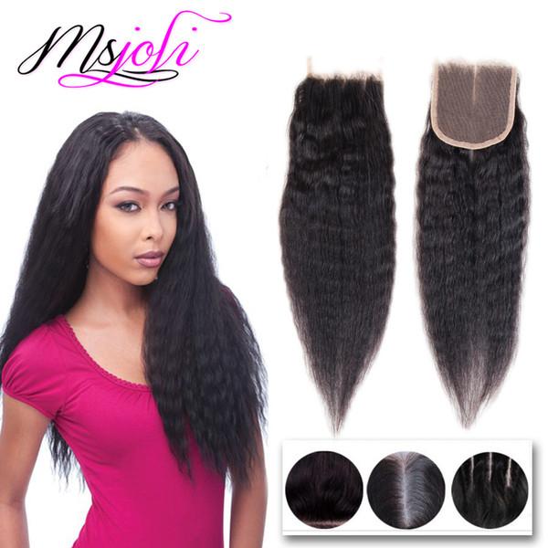 O cabelo humano brasileiro do Virgin tece o fechamento da parte superior do laço do fechamento 4x4 com as três partes naturais Kinky preto reto 8-22 polegadas de MsJoli