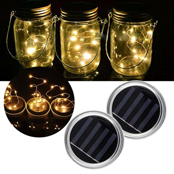 top popular Solar light string Mason Jar Bottle(not including) 1m 2m Warm white Colourful Copper string outdoor Garden Yard Party Decoration 2020