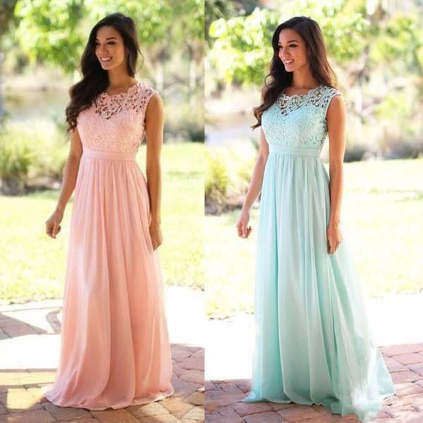 best selling Elegant Pink Mint Green Bridesmaid Dresses Lace Appliqued Wedding Guest Dress Sheer Back Zipper Sweep Train Chiffon Cheap Formal Gown CPS489