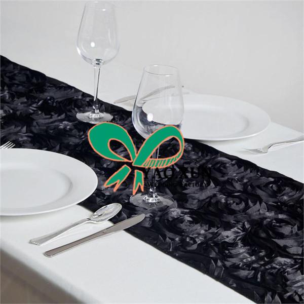 3D Satin Rosette Table Runner For Wedding Baquet Decoration