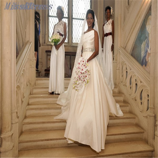 2017 Simple Satin Ball Gown Nigerian Wedding Dresses With Ruched Detail Corset Floor Length Africa