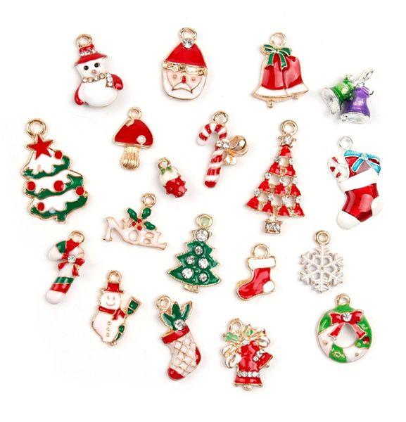 Kostenloser Versand! Neuer heißer Verkauf Weihnachtsgroßverkauf verlost 19Pcs XSilver-tone Mischung einzigartige Emaille-Weihnachtscharme-Anhänger
