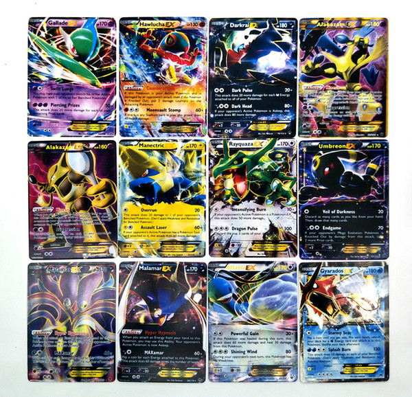 42 PCS Metal Box Play Cards Basic EX Mega Evolution Playing English Pikachu Collectable Card toy for Kids Gift Poker Paper Games