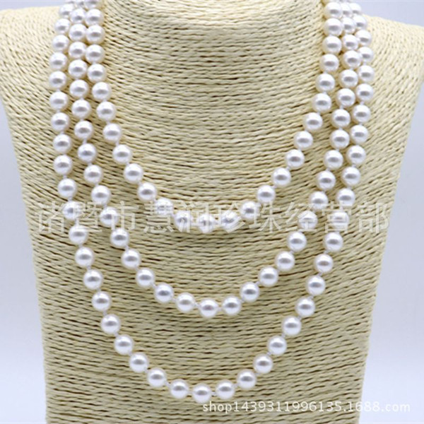Wholesale-Free shipping Classic Jewelry Hot Selling Natural Pearl Necklace 15.5 Inch 8mm 10mm 12mm Round pink White Pearl Necklace