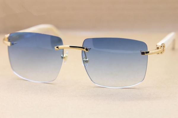 Diseñador de la marca Sunglassses Buffalo Cuerno marcos sin montura Gafas de sol Exquisito Blanco búfalo Gafas Hombres 8300816 con estuche original