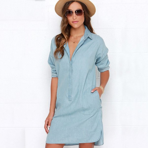 2017 summer female denim sundress feminina Women Casual Long Loose Shirt Dress Women's Tops Turn-down Pockets Light Blue