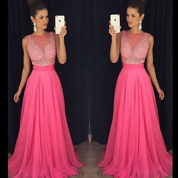 top popular Latest Scoop Neck Chiffon Long Evening Dresses Beaded Sheer Neck Fashion Prom Dresses Evening Gowns Special Occasion Dresses 2019