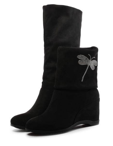 Botas para la nieve elásticas de otoño e invierno, con adorno de diamantes de imitación, aumentan la altura con el tacón alto en una bota gruesa de lado cálido