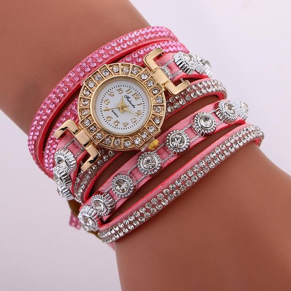 Fashion Gold Bracelet Watch Full Crystal Diamond Long Strap band Women Watches Luxury Ladies Watch Women Quartz watch Clock