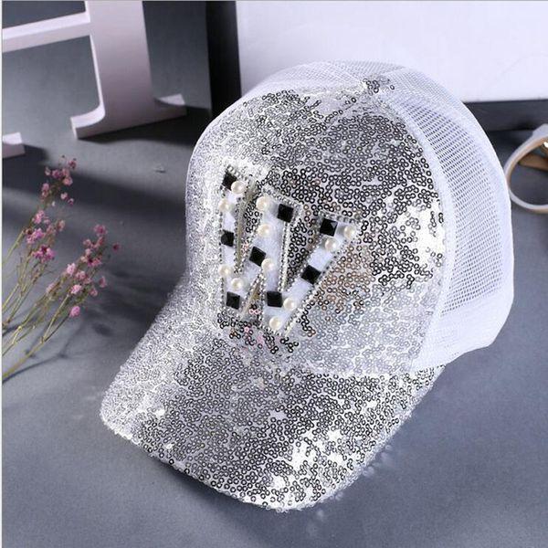 Toptan-Punk Örgü Kap Ayarlanabilir Pamuk Şapka Snapback Katı Mektubu W inci Sequins Gorras Hip-Hop Kadınlar Beyzbol Şapkası