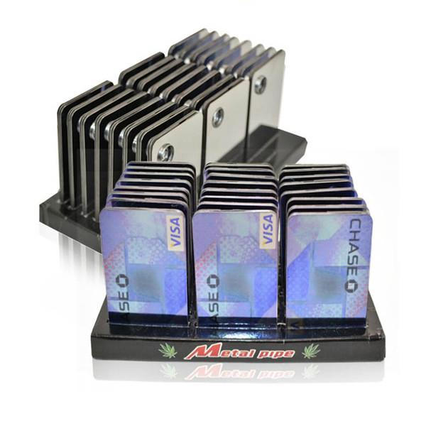 Credit Card Pipe Portable Metal Card Smoking Pipe Gift Shisha Hookah Herb Grinder Rolling Machine Free Shipping
