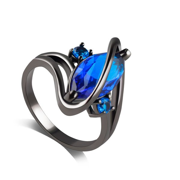 Created Blue Sapphire Engagement Halo Ring Punk Male Female Party Ring Silver Jewelry For Women Fashion
