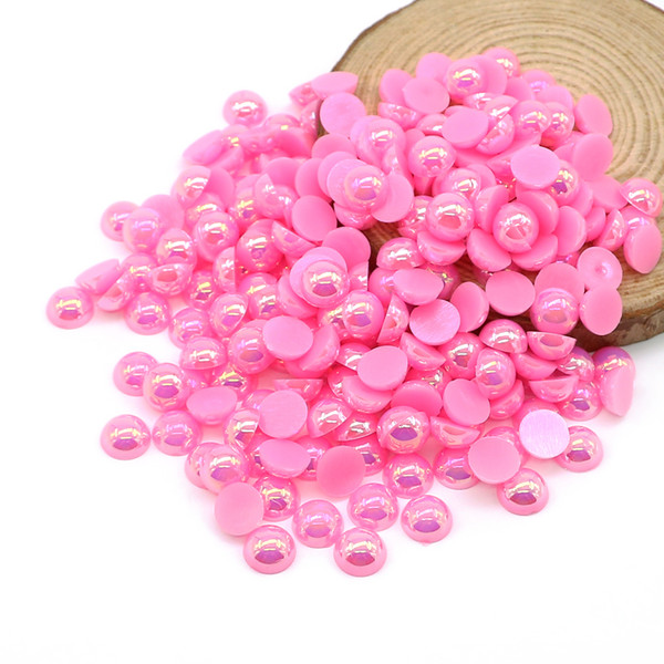 ABS Flatback Half Pearl Beads Peach AB Flat Back Round Craft Half Pearls Diy Glue On Beads For Decoration, 500-5000PCS/PACK