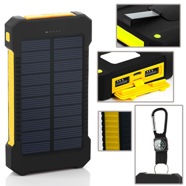 top popular Compass solar power bank 20000mah universal battery charger with LED flashlight and Camping lamp for outdoor charging 2019