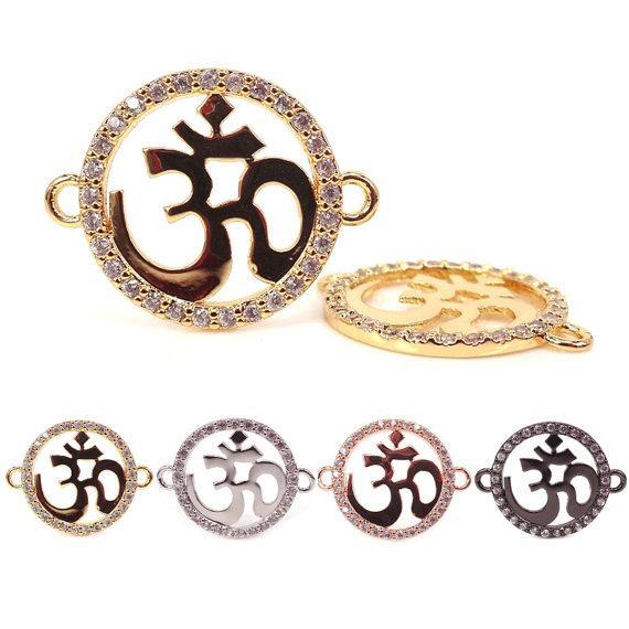 Micro Pave Black CZ Crystal Om Connectors God Karma,Yoga Meditation,Spiritual Hinduism,Rhodium,Gold,Rose Gold,Gun Black,20mm*25mm