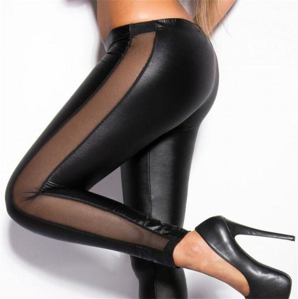 Европа Россия поп прилив женщин шнурка заплатки сексуальные обтягивающие брюки красный черный сращивания Повседневный стиль партии ночной клуб Гламурные леди тонкие брюки
