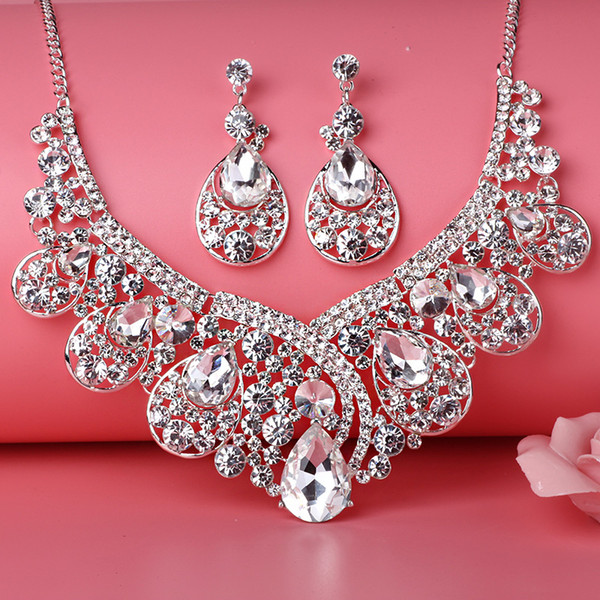 Beauty Silver Flower Pearls Bridal Necklace Tiara Earring Suits 3 pieces Jewelry Suits Wedding Bridal Jewelry P419004