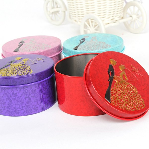 200pcs Round Shape Metal Tin Material Bride Groom Candy Box Wedding party favor holder Free shipping