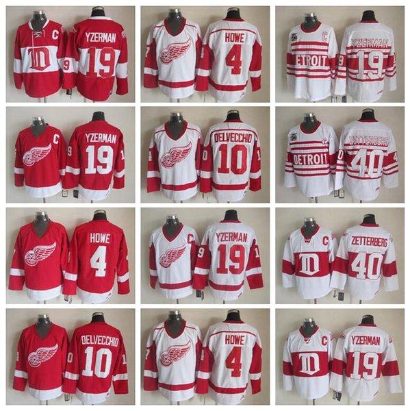 Detroit Red Wings 19 Steve Yzerman Jersey Men 40 Henrik Zetterberg 10 Alex Delvecchio 4 Gordie Howe Vintage Classic 75th Red White