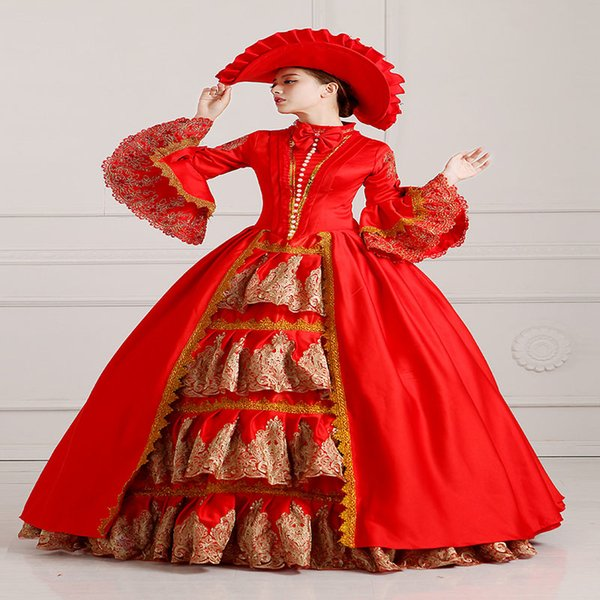 Free Shipping 2016 Royal Deep Red Floral Print Victorian Ball Gowns Hand made Marie Antoinette Costume For Women