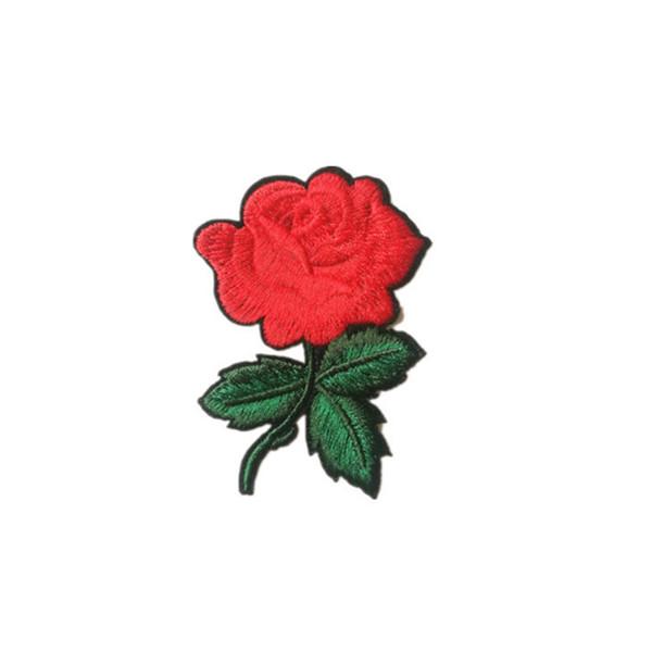 2017 Mignon Coloré Rose Applique Fleurs Patch Brodé Coudre sur Vêtements Sacs À La Main DIY Artisanat Ornement Tissu Autocollant