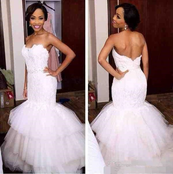 White Mermaid Trumpet Wedding Dresses Sexy Lace Tulle Appliques Sweetheart Tiered Crystal Open Back Floor Length Bridal Gowns