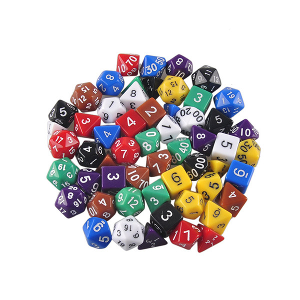 High Quality Free shipping Outdoor KTV Fun 7pc/Set Dice Multi-Sided Dice with Marble Effect d4 d6 d8 d10 d10 d12 d20 Dice Game 8 Color
