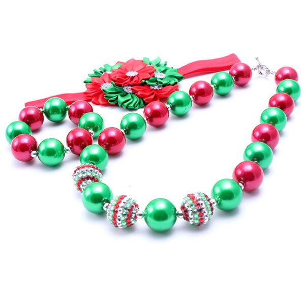 Christmas Design Necklace&Bracelet Headband 3PCS Baby Kids Bubblegum Chunky Necklace Set Party Gift For Toddlers Girls Jewelry Set