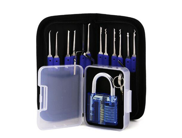 12pcs Unlocking Lock Pick Set Key Extractor Tool with Blue Practice Padlocks Lock Pick Tools for locksmith