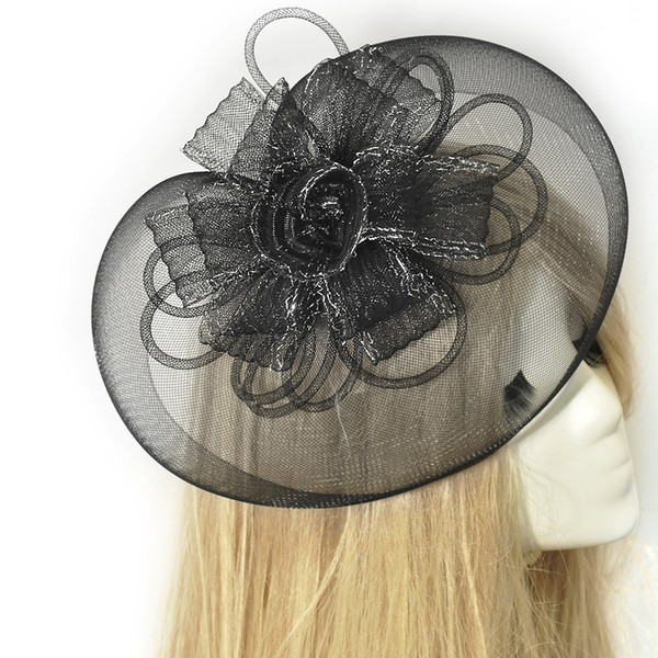 New Free Shipping Party Cocktail Women Lady Fascinator Wedding Black Hat Hair Clip Ladies Day Bridal Bride Hair Accessorie Handmade