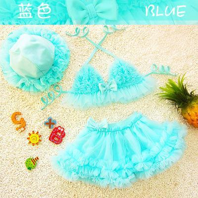 Kids Girls Bikini Swimwear Baby Girls Lace Bow Swimsuit Toddler Hat + Top + Skirt 3pcs Set 2017 Princess Bathing Tankini Beach Clothes B141