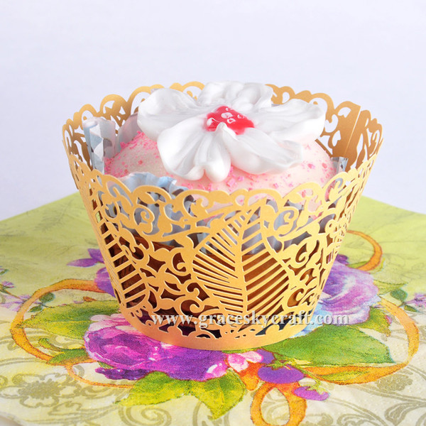 50PCS/Lot free shipping Leaves design Laser Cut Wedding / Birthday Cupcake Wrappers Liners Baking Cup For Home Garden Party Decoration