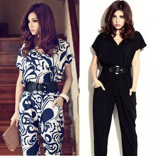 New drop shipping black color come with belt chiffon fashion jumpsuit Rompers