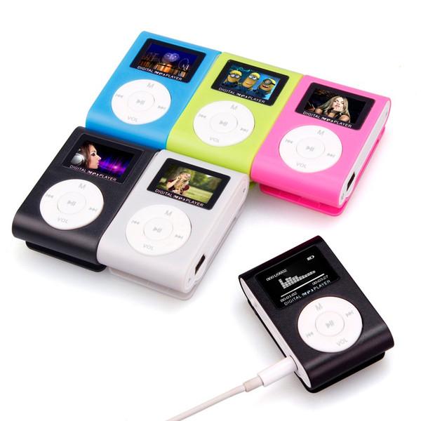Alta qualidade portátil mini mp3 player clipe de metal usb mini tela lcd suporte 32 gb micro sd tf cartão esporte mp3 players