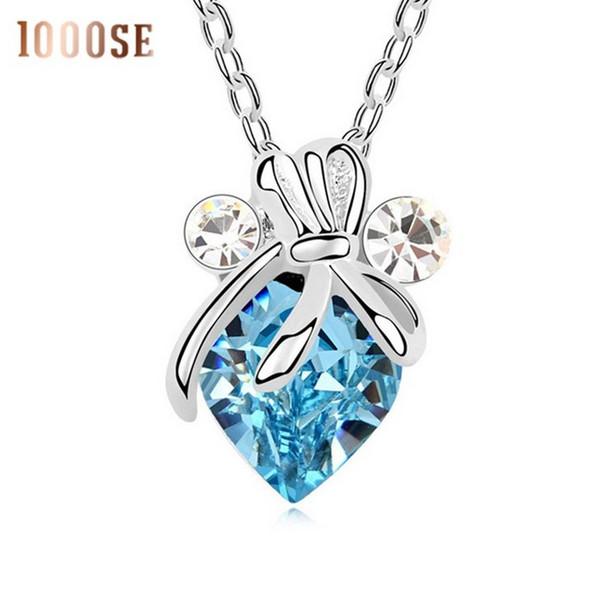 2017 new 1000se new Qianse using SWAROVSKI Elements Crystal Necklace Dragonfly Dragonfly Pendant jade creative female sale
