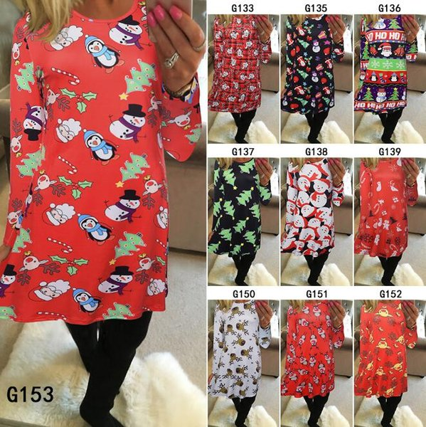 best selling 6 Colors Women's Christmas Santa Claus Penguin Printed Pullover Flared A Line Dress Cosplay Long Sleeve Top T-shirt Clothing CCA7492 10pcs