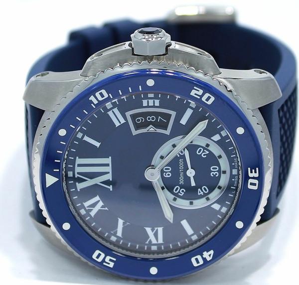 뜨거운 판매 구경 드 다이버 WSCA0011 블루 다이얼 및 고무 42mm 자동 무브먼트 시계 망 시계 시계