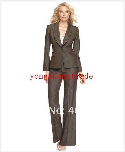 Costume des femmes brunes manches longues simple bouton châle col veste pantalon à jambe large accepter les coutumes faites 679