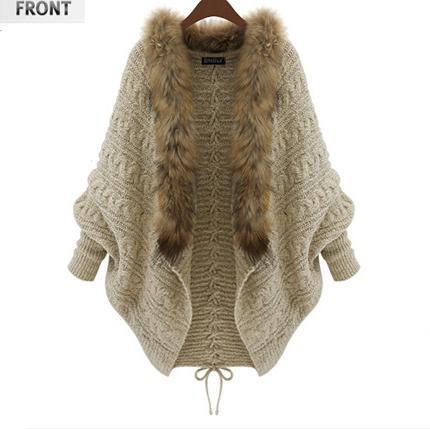 Großhandels- 2016 Herbst und Winter neue große Größe Frauen Fledermaus Ärmel Strickjacke Pullover Mantel Pelzkragen Beige