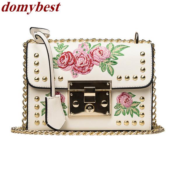 Elegant luxury embroidery flower rivet gold chain purse female shoulder bag handbag totes women's crossbody messenger bag