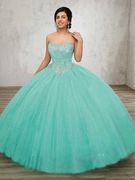 Vestido de bola turquesa sin tirantes de la princesa de tul vestidos de quinceañera vestidos 2019 vestidos de 15 años debutante Sweety Prom vestidos de fiesta ADQ005