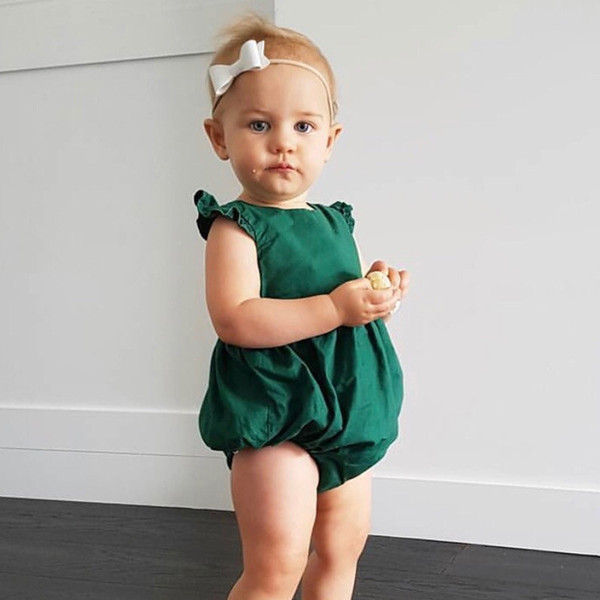 Nette Baby-Mädchen Ins Candy grüne Farbe Baumwollspielanzug Fliegenhülse Vintage Western Mode Kleinkind Kinder Kleidung