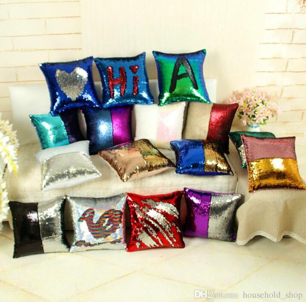 top popular DHL Gradient Pillow Case Sequin Cover Mermaid Cushion Cover Insert Magic 34 Styles Double Cushion Paillette Cover Sofa Wedding Bed Decor 2019