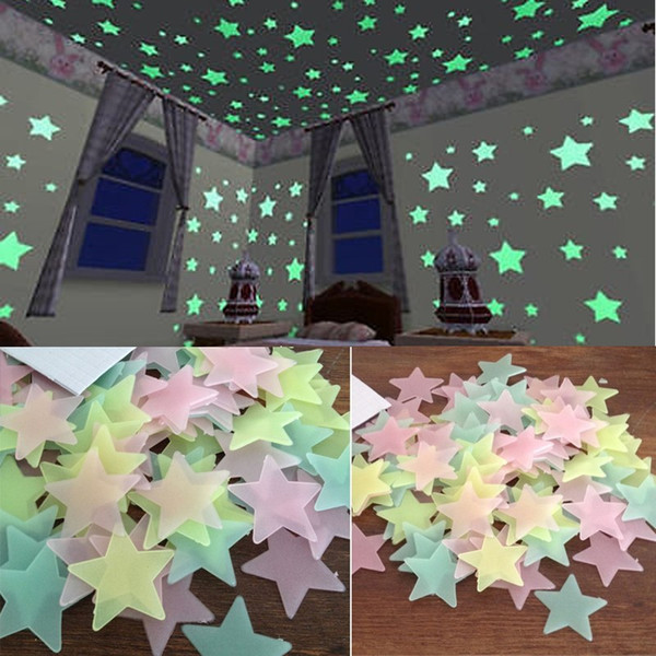 100 pcs home wall glow in the dark stars stickers Planet Wall Ceiling Decor Stick On Space ceiling decoration 3d luminous 3CM