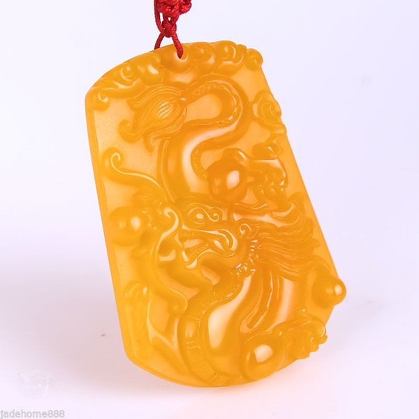 Chinese handcarved 100% Natural Huanglong jade Dragon pendant necklace
