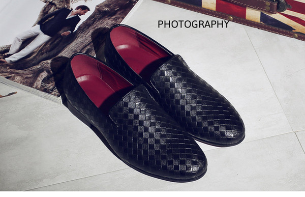 2017 Handmade Metal new Red Leather Men Weaving Bottom Dress Shoes Evening Party Wedding Shoes Skull Fashion Flats Plus size US11 size 37-44