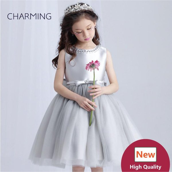 Silver wedding dresses Prom dresses Beads Girls pageant dress High quality designer dresses real photo China wedding dress